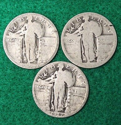 Lot Of 3 Standing Liberty Silver 25¢ United States Quarter Dollars 1927 & 2 ????