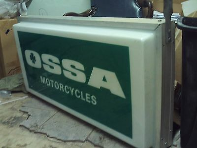 Vintage Ossa Motorcycle Sign Double Sided Rare Piece Of World Motorcross History