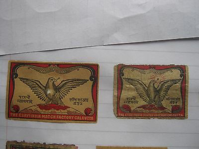 2 Old Indian Bird Matchbox Labels.