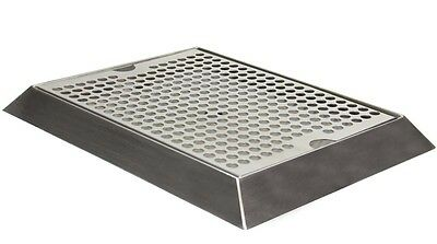 "Kegc SEBV-129D 12"" x 9"" Bevel Edge Drip Tray with Drain"