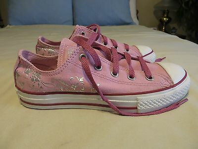 Girls YOUTH Size 2 Pink with Silver Swirls CONVERSE ALL STAR Shoes Worn Once!