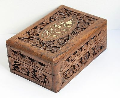 Charming Vintage Floral Carved Wooden Box with Hinged Lid and Lined Interior.