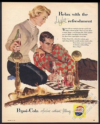 1957 Pepsi Cola couple chess board pieces game fireplace art vintage print ad