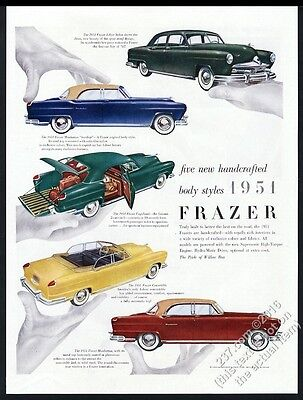 1950 Frazer Manhattan sedan Vagabond convertible Paul Rand art vintage print ad