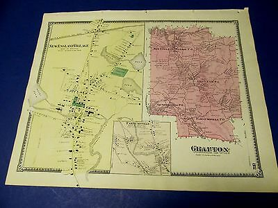 Antique 1870 map of Grafton   Ma. by Beers