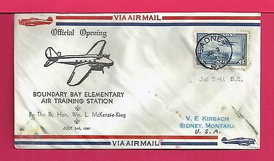 1941 Canada Boundary Bay Elementary Air Training Station Opening Cover Ladner