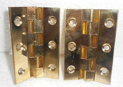 2 Vintage Brass Door Hinges Over Made In India Over 15 Years Old In614