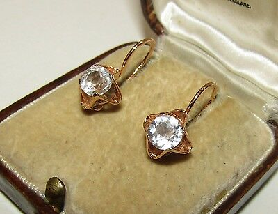BRILLIANT,ART DECO,ca.1927,RUSSIAN, 14CT GOLD DORMEUSES EARRINGS/OLD CUT PASTE