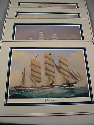 4 Pimpernel Placemats Sailing Ships England Cork Back 15-3/4 x 12