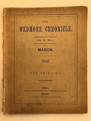 Rare 1888 Wedmore Chronicle Vol II 1 Village Magazine Printed in Wells Somerset
