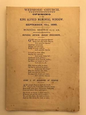 1890 Wedmore Opening King Alfred Memorial Window Programme Somerset 4pg