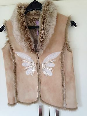 New Monsoon gilet Age 10-12 Beautiful Sheepskin With Butterfly Design