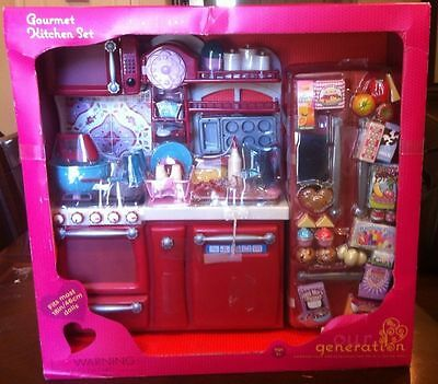 """NIB Gourmet Kitchen Food Set for your 18"""" American Girl Doll by Our Generation"""