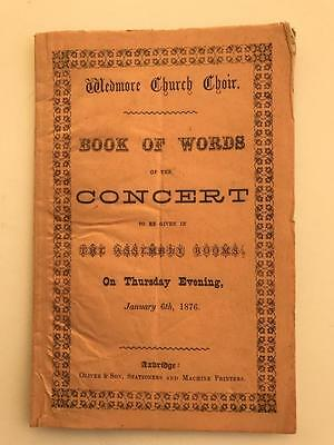1876 Wedmore Church Choir Concert Programme Somerset 14pg