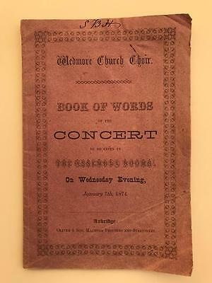 1874 Wedmore Church Choir Concert Programme Somerset 10pg