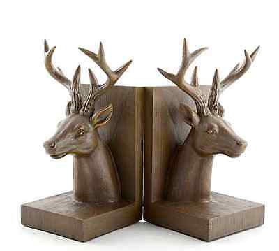 Rustic Brown Stag Book Ends Set of 2 Antique Carved Rural Home Gift