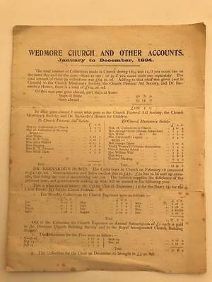 1894 Wedmore Church Accounts Jan to Dec Somerset interest 4pg