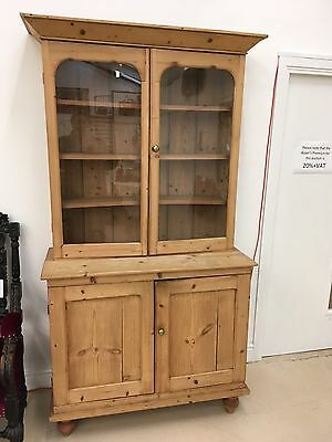 Scarce Victorian Stripped Pine Two Piece Bookcase