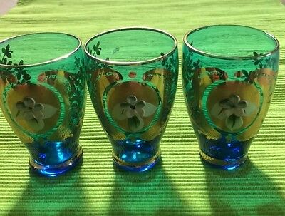 Vintage Venetian Glasses Blue And Gold X 3