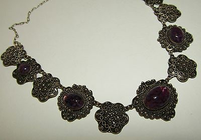 Intricate,antique, Austro-Hungarian Silver 950 Cannetille Necklace With Amethyst