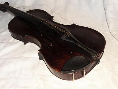 """ANTIQUE GERMAN VIOLIN IN CASE WITH 2 BOWLS,SIGNED """" HUGALL"""" COLLECTABLE c1850."""