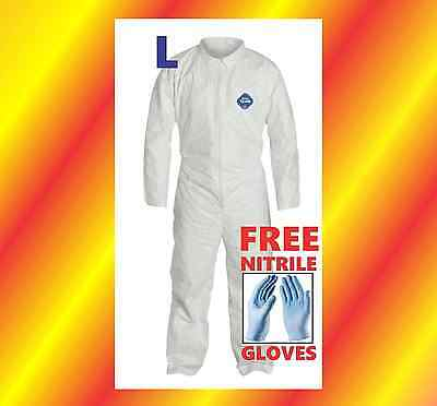 L Tyvek Protective Coveralls Suit Hazmat Clean-Up Chemical FREE Nitrile Gloves