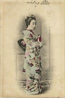 japan, Beautiful Geisha Lady in Kimono with Little Doll Puppet (1905)