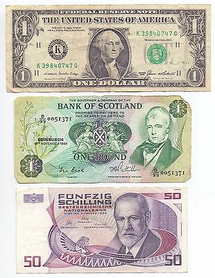 Nice Mixture of 9 used World Banknotes All Scanned Lot 5