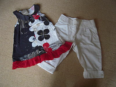 BNWT Black/Red/White Top and White Cropped Trousers in Size 3 Yrs by Next
