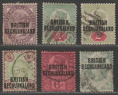 British Bechuanaland 1891 QV Overprint Set Used SG33-37 cat £24
