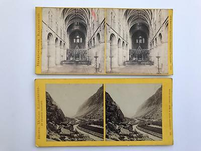 2 Early Stereoviews 1870s Francis Bedford Hereford and Llanberis Wales