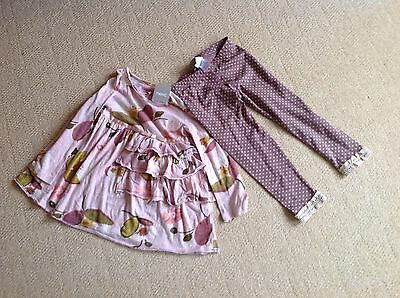 New with Tags Pink Floral Top & polka dot leggings set by Next size 3 to 4 yrs