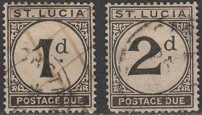 St Lucia 1933 KGV Postage Due 1d, 2d Used cat £19 SG D3 SG D4