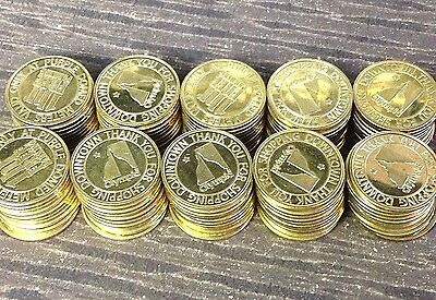 "100 x Olympia WA 1 Hour Parking Meter Tokens, Brass, 1.00"" Diameter"