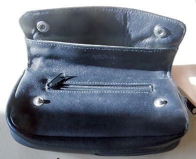 Super leather pipe and tobacco pouch in black morocco leather