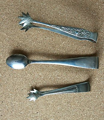 3 X Nice  Assortment Of Vintage  Sugar Tongs   Silver Plated
