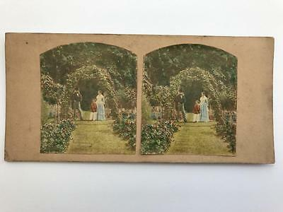 Early Stereoview 1850s The Flower Garden