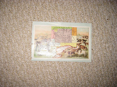 Antique 1889 Wyoming Pictorial Map American West Chromolithograph Horse Culture