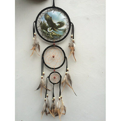 """New 20"""" Long Soaring Bald Eagle Dream Catcher Wall Hang Decor Feathers Bead Gift"""