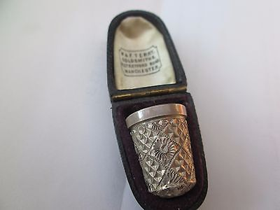 Antique Sterling Silver H G & S Thimble Size 14 Cased