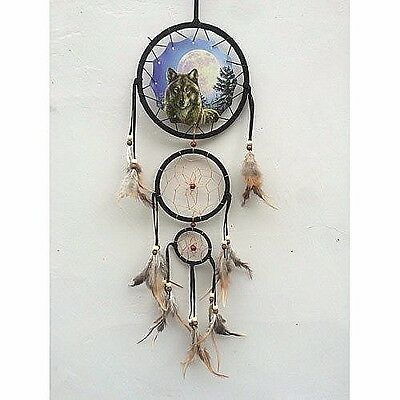 "New 20"" Long Night Wolf Moon Dream Catcher Wall Hang Decor Feathers Beads Gift"