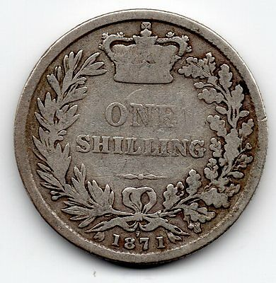 1871 Queen Victoria Young Head Sterling Silver .925 Shilling Coin