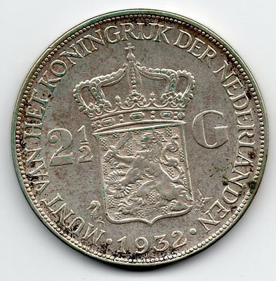 1932 NETHERLANDS 2 1/2 Gulden LARGE Silver Coin collectable grade KM #165
