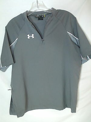 UNDER ARMOUR Graphite Gray Poly Contender Cage Shirt Jacket Youth L Large Loose