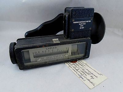 Marine Distance Meter Pat #703  Nautical Instrument Measures In Cables & Feet