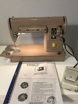 Singer 301 A Sewing Machine Tan Slant Needle 1953