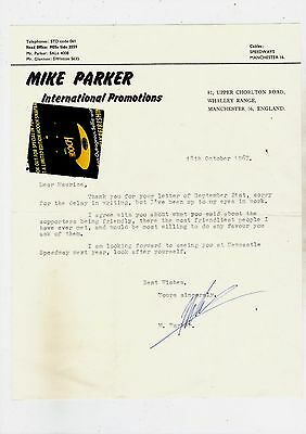 Original Hand Signed Letter from Mike Parker 1967