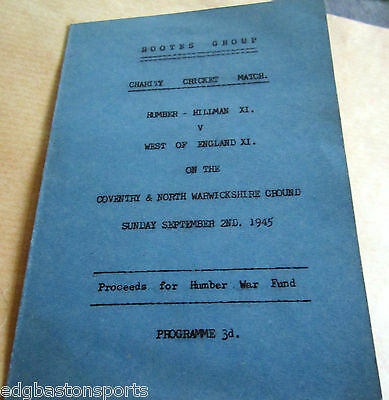 Coventry S/C 1945 Hampshire Worcester Warwick Derby Leicester Glos Essex Surrey