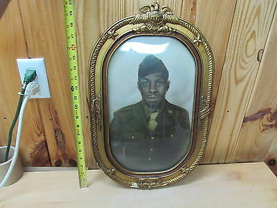WWII African American Army Military Portrait in USA Gilt Photo Frame Black