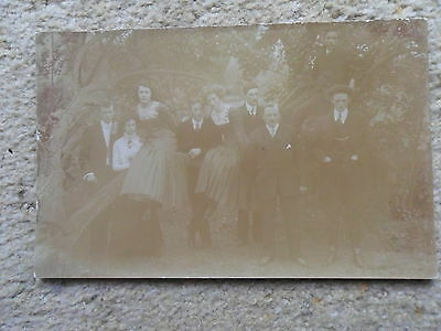 Real Photo Postcard.anonymous People.group.outside  6 Men And 3 Women.
